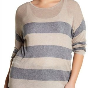 Eileen Fisher NWOT top in semisheer, striped knit.